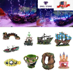 Aquarium Decoration boat plastic ship wreck sunk fish tank decor Large kids gift