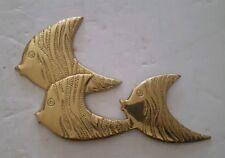 Vintage Brass Angel Fish Wall Plaque Art