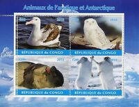 Congo 2018 CTO Arctic & Antarctic Animals 4v M/S II Owls Seals Birds Stamps