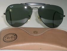 62-14 VINTAGE B&L RAY-BAN W0231 BLACK G15 OUTDOORSMAN II AVIATOR SUNGLASSES MINT