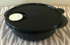 Tupperware Divided Microwave Dish Cookware with Vented Seal Black 4 Cups New
