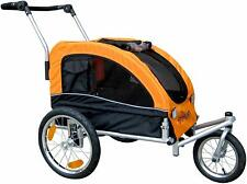 Pet Bicycle Trailer and Dog Stroller with Suspension Shocks Orange Booyah Medium