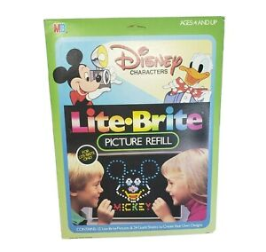 VINTAGE 1980s LITE BRITE DISNEY CHARACTERS REFILL 11 PICTURE PAPER BLANK SHEETS