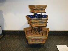 Set of 3 Longaberger 2001 Christmas Collection Star Baskets Wrought Iron Stands