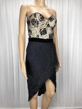 ** MOSS & SPY DESIGNER ** BNWT $378 * Sz 10 Black Ivory Lace Sateen Dress-(B184)