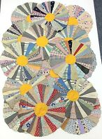 """Lot of 16 Vintage (1930's) Quilt Blocks Rounds Hand-Stitched 12"""" Diameter"""