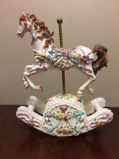 """Vintage Musical Rocking CAROUSEL HORSE Ceramic Resin """"My Favorite Things"""""""