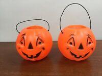 "2 Vtg Blow Mold Plastic Pumpkin Jack O Lantern Halloween Treat Candy Bucket 5"""