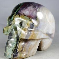 2.61lb NATURAL AGATE QUARTZ STATUE FIGURINE HUMAN SHAPED SKELETON HEAD CARVING