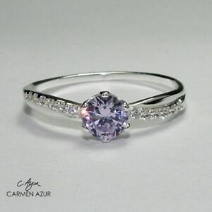 Solid 925 Sterling Silver Ring Lilac CZ Stone Solitaire, Size L,N,O,Q + Gift Bag