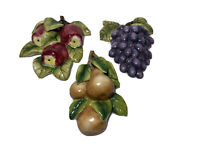 Vintage Home Interiors Ceramic Fruit Wall Hangings Apples, Pears, & Grapes HOMCO