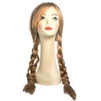 Anna Frozen Wig Disney Movie Strawberry Blonde Pigtails Braided Costume Womens