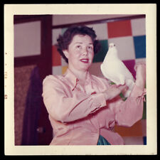 Buzzed Housewife Woman Wonders Why a Dove Landed on Her ~ 1960s Vintage Photo