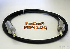 ProCraft PSP12-3-QQ 3 Foot 12 Gauge Speaker Cable W/ Jumbo 1/4 Connectors USA