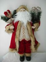 """18"""" Standing Tabletop Christmas Santa With Snowshoes & Toy Sack, NWT"""