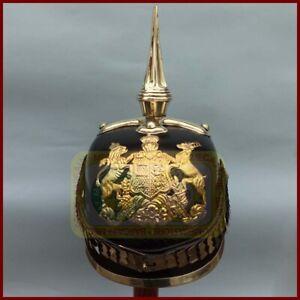 WW1 German Helmet Prussian Leather PICKELHAUBE HELMET w/ Cruciform Base 57-59cm