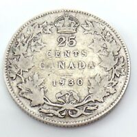 1930 Canada 25 Twenty Five Cents Quarter Silver King George V Canadian Coin G741