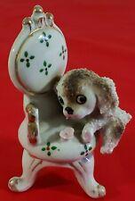 """Vintage Ceramic Dog On Porcelain Chair Gold Trimmed Japan Kitsch 4.5"""""""