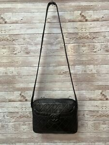 Chanel Leather Strap Quilted Black Shoulder Knot Logo Vintage Handbag Purse