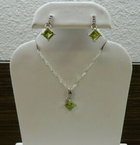 Natural Chanbai Peridot & White Topaz Sterling Silver Pendant and Earring Set