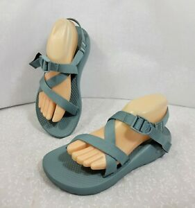Chaco Womens Comfort Adjustable Buckle Strap Slip On Cyan Strappy Sandals Size 9