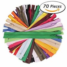 NEW 70Pcs 12 Inch Assorted Zippers Bulk for Sewing Craft FREE SHIPPING