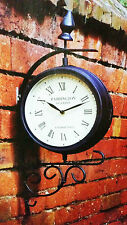Kingfisher Dual Faced Paddington Station Garden Bracket Rotating Wall Clock