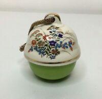 Vintage Porcelain Christmas Ornament Floral Bell