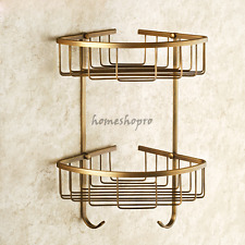 Antique Brass Bathroom Shelves Dual Tier Shower Corner Shelf Storage Basket Rack