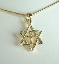 "18"" Star Of David W/Cross Necklace In 18K Gold  Plated - LIFETIME WARRANTY"