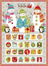 "Christmas Festive Snowman Advent Calendar Cotton Fabric Makower 24""X44"" Panel"