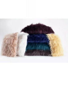 "Mongolian Long Hair Faux Fur Decorative Throw Pillow Pair 20""x20""Asst Colors"