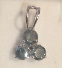 925 Silver Pendant 1.45Ctw Si/Green Real Moissanite
