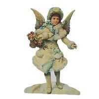 Antique Christmas Victorian Angel Girl Large Tree Ornament Die Cut Craft Scrap
