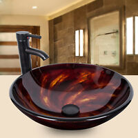 Round Bathroom Glass Vessel Sink Bowl Basin Oil Rubbed Bronze Faucet Drain Combo