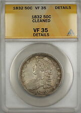 1832 Capped Bust Silver Half Dollar 50c Coin ANACS VF-35 Details Cleaned PRX
