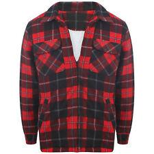Mens Flannel Fleece Fur Lined Cotton Work Shirts Lumberjack Check Long Sleeve