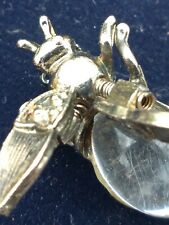 Vintage Trembler Bee Bug Lucite Jelly Belly Gold Tone Pin Brooch