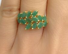 14k Solid Yellow Gold Cute Cluster Ring Natural Emerald 2.50 TCW, Sz 7.5