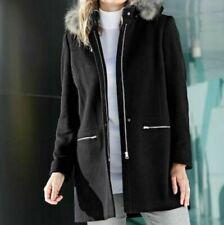 Damen Kurzmantel Wolljacke Jacke Kapuze schwarz - NEU & OVP große Größen Fell 54