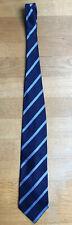 George Collection Neck Tie 100% Silk Blue Stripe Width 4 In