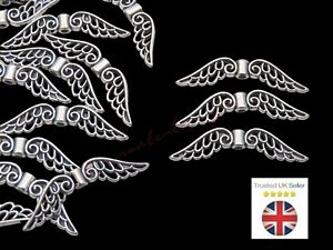 20 Pcs - 32mm Tibetan Silver Wing Spacer Charms Beads Jewellery Beading D229