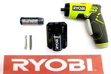 "RYOBI 4 V 4 VOLT TEK4 LITHIUM 1/4"" SCREWDRIVER W/ CHARGER, BATTERY & BITS 54L"