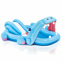 Intex 87in x 74in x 34in Inflatable Hippo Play Kids Pool With Slide And Sprayer