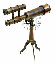 Kelvin Hughes Double Barrel Nautical Antique Brass Telescope With Tripod Stand