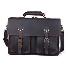 """Genuine Leather Business Briefcase Men's Shoulder Bag 16"""" Laptop Tote Backpack"""