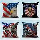 set of 4 USA flag patriotic eagle cushion covers throw pillow case