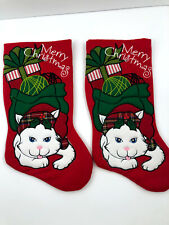 2 Santa's Best Merry Christmas Stocking White Cat Hanging Holiday Free Shipping