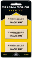 Prismacolor Magic Rub Vinyl Art & Drafting Erasers Non Abrasive Latex Free 3 Pk