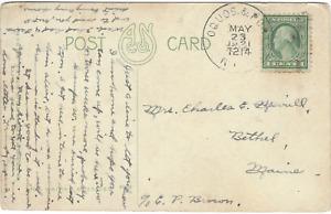 RPO Railroad Post Office 1921 Oquossoc & Portland Maine SCARCE marking
